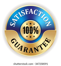 Blue 100 percent satisfaction badge with gold border