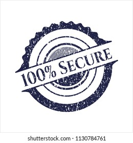 Blue 100% Secure distress grunge stamp