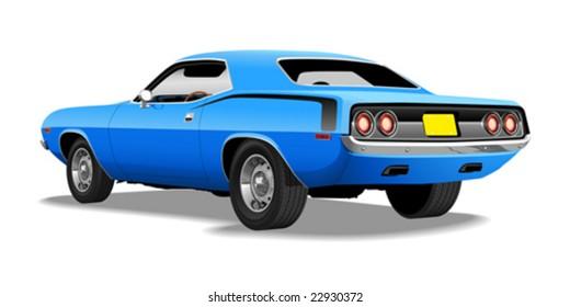 Blue 1970's Muscle Car