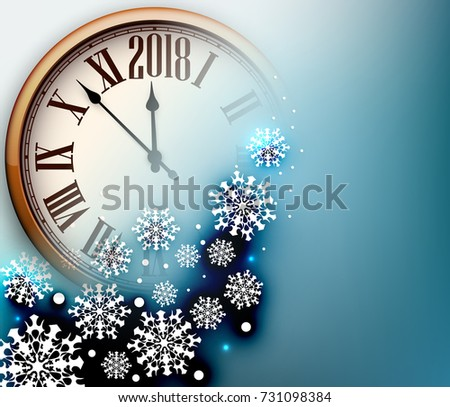 blue 2018 new year background with clock and snowflakes vector illustration