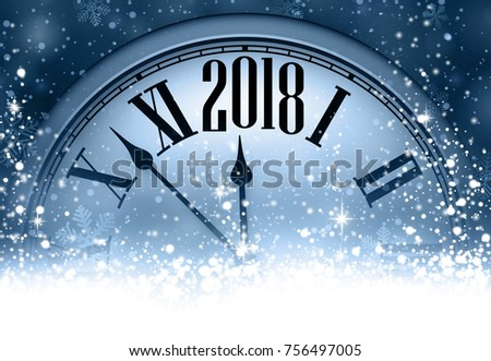 blue 2018 new year background with clock and snow vector illustration