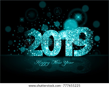 blue 2019 happy new year on the background