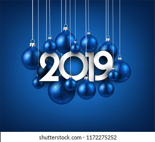 Blue 2019 new year background with Christmas balls. Festive shiny decoration. Greeting card. Vector illustration.