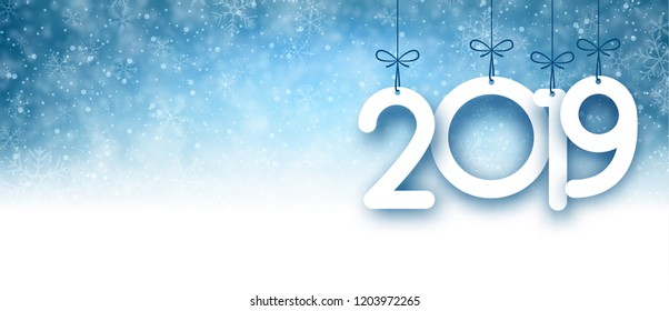 Blue 2019 New Year banner with snow. Vector background.