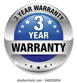 Blue 3 year warranty button