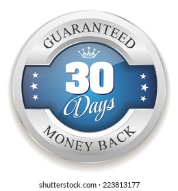 Blue 30 days money back badge with silver border on white background