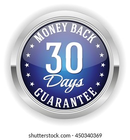 Blue 30 days money back button, badge with silver border on white background