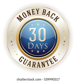 Blue 30 days money back badge / button with gold border on white background