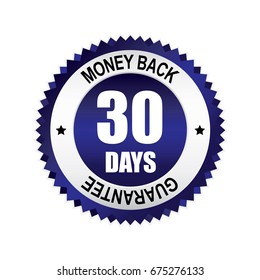 Blue 30 days money back,guarantee badge, button with silver border.vector illustration