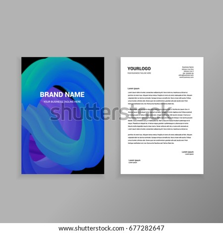 blue 3d blend elegant business formal letterhead design template orint ready