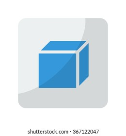 Blue 3D Box icon on grey rounded square button on white