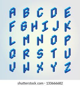 Blue 3D digital pixel font design vector set (Letters)
