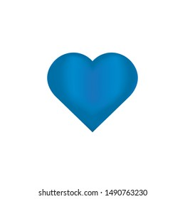Blue 3d heart shiny vector on a white background