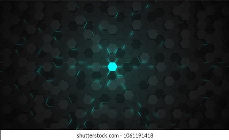 Blue 3D hexagon tech background, vector illustration