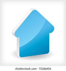 Blue 3d house icon