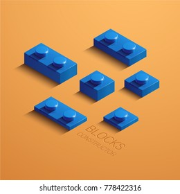 blue 3d lego element. 3d building constructor blocks