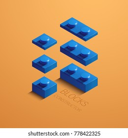 blue 3d lego element. 3d building constructor from lego blocks