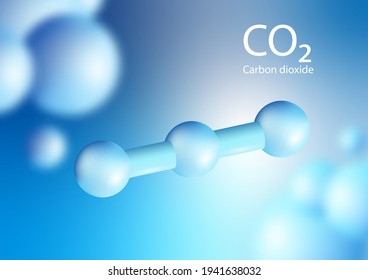 Blue 3D shape of Carbon dioxide is produced during the processes of decay of organic materials. Floating in the air. 3d illustration chemistry. Vector.
