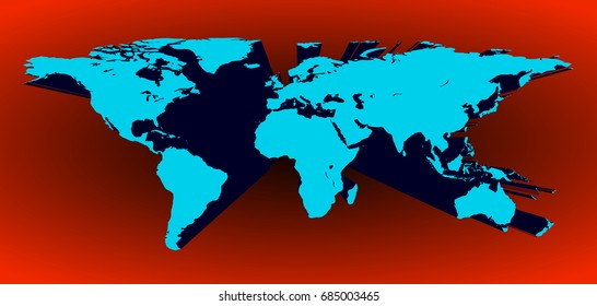 Origami world map vector stock vector 603761879 shutterstock blue 3d world map in vector on a red background gumiabroncs Choice Image