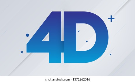 Blue 4D Text on White Background - Vector Illustration