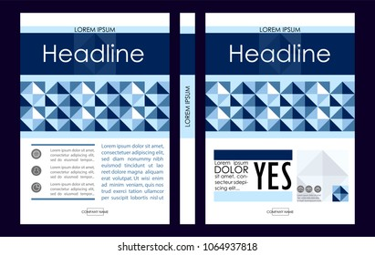 Blue A4 Business Book Cover Design Template. Good for Portfolio, Brochure, Annual Report, Flyer, Magazine, Academic Journal, Website, Poster, Monograph, Corporate Presentation, diamond Vector.