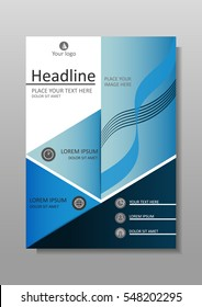 Blue A4 Business Book Cover Design Template. Good for Portfolio, Brochure, Annual Report, Flyer, Magazine, Academic Journal, Website, Poster, Monograph, Corporate Presentation, Conference Banner.