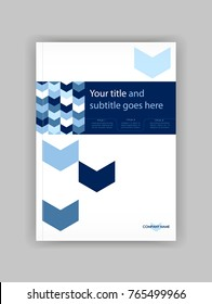 Blue A4 Business Book Cover Design Template. Good for Portfolio, Brochure, Annual Report, Flyer, Magazine, Academic Journal, Website, Poster, Monograph, Corporate Presentation, arrow Vector.