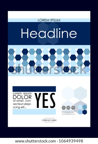 Blue A4 Business Book Cover Design Template. Good for Portfolio, Brochure, Annual Report, Flyer, Magazine, Academic Journal, Website, Poster, Monograph, Corporate Presentation, Hexagon Vector.