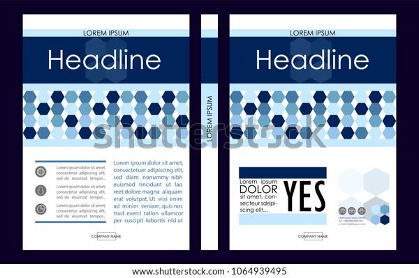 Blue A4 Business Book Cover Design Template. Good for Portfolio, Brochure, Annual Report, Flyer, Magazine, Academic Journal, Website, Poster, Monograph, Corporate Presentation, Hexagon Vector.