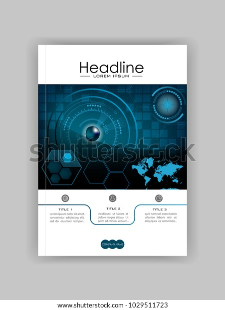 Blue A4 HUD Business Book Cover Design Template. Good for Portfolio, Brochure, Annual Report, Flyer, Magazine, Academic Journal, Website, Poster, Monograph. World map. Vector EPS10.
