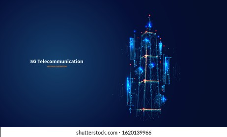 Blue abstract 3d isolated  5G antenna on innovation technology background. Low poly wireframe digital vector. Polygons and connected dots. Internet telecommunication tower futuristic concept.
