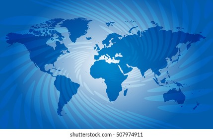 blue abstract background with map of world - vector