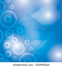 blue abstract background with transparent cogwheels and polygons - vector illustration
