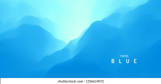 Blue abstract background. Water surface. Sky with clouds. Landscape with mountains. Vector illustration for design.