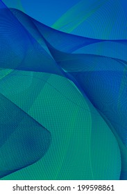 Blue abstract background with wavy lines. Vector