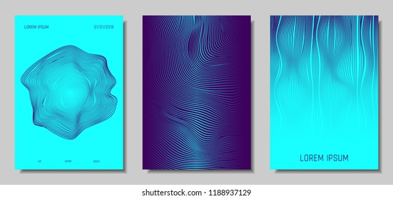 Blue Abstract Covers with Movement Effect. Wave Striped Backgrounds. Geometric Templates Set with Flow Lines. EPS10 Vector Design. 3D Abstract Distortion for Brochure, Magazine, Music Poster, Book.