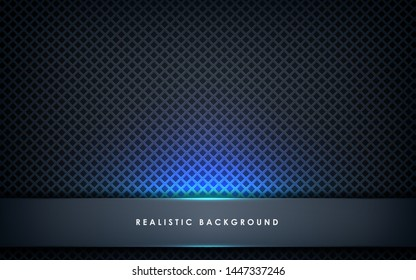 Blue abstract dimension on black texture background. Realistic overlap layers texture with blue lights element decoration.