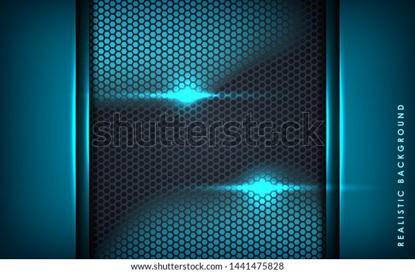 Blue Abstract Dimension On Black Hexagon Stock Vector