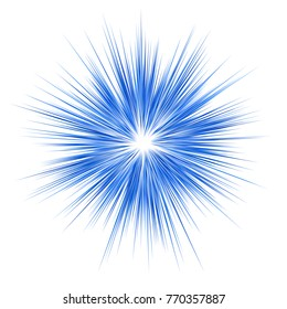 Blue abstract explosion graphic design on white background