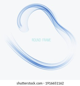 Blue abstract flow of transparent wave in a circle
