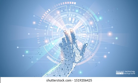 Blue abstract futuristic background. Vector. The touch of a human hand on the electronic display of the interface. Virtual HUD. Low poly frame of dots and lines. Modern innovative technologies, vr.