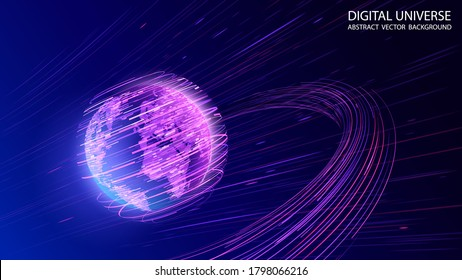 Blue abstract futuristic background. Vector graphics. Plasma clot of energy. Glowing rays with flickering particles. Wave effect. Science and technology. Sound and radio waves.