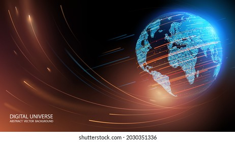 Blue abstract futuristic background. Vector. Satellites and rockets in orbit of planet Earth. Plasma clot of energy. Glowing rays with flickering particles. Wave effect. Science and technology.