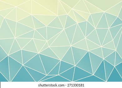 Blue abstract geometric background consisting of colored triangles and light mesh.