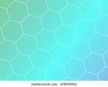 Blue abstract geometric background with hexagon shapes. Vector template brochure design