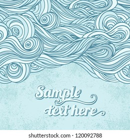 Blue abstract hand-drawn pattern, waves background