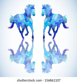 Blue abstract horse of geometric shapes