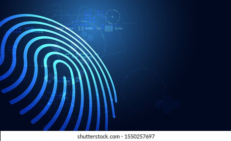Blue abstract image that is futuristic with finger prints concept. Theft detection Prevention of cyber threats That is using security systems by scanning the fingerprint.