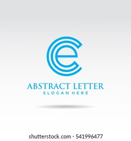 Blue Abstract Letter CE template logo design. Vector illustrator ep.10