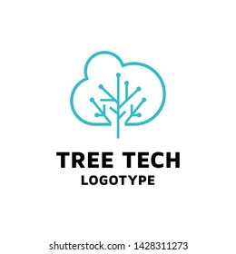 Blue abstract line eletric logic tree with cloud sign logo vector creative design.